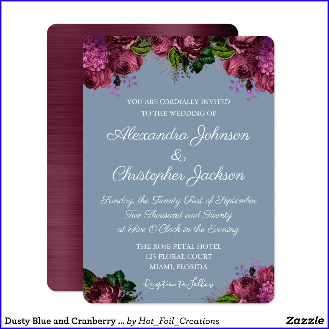 Dusty Blue And Burgundy Wedding Invitations