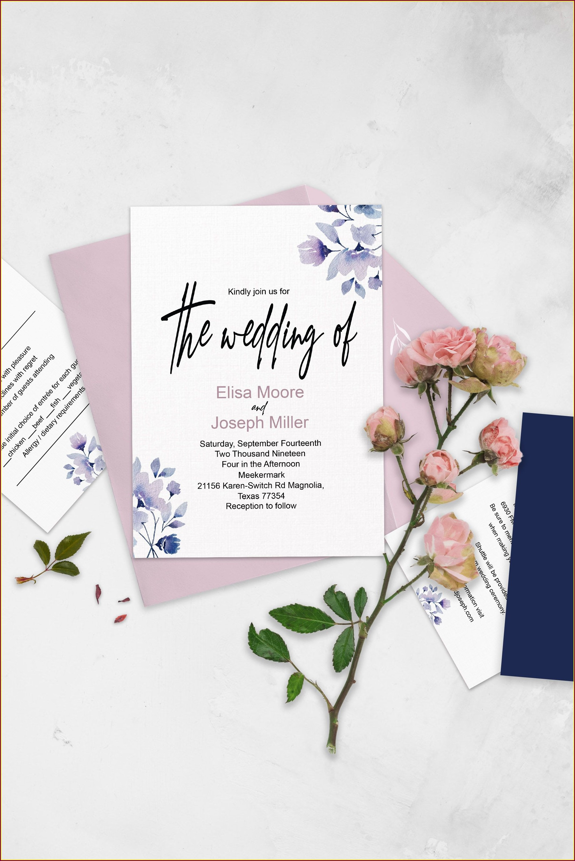 Dusty Pink And Navy Blue Wedding Invitations