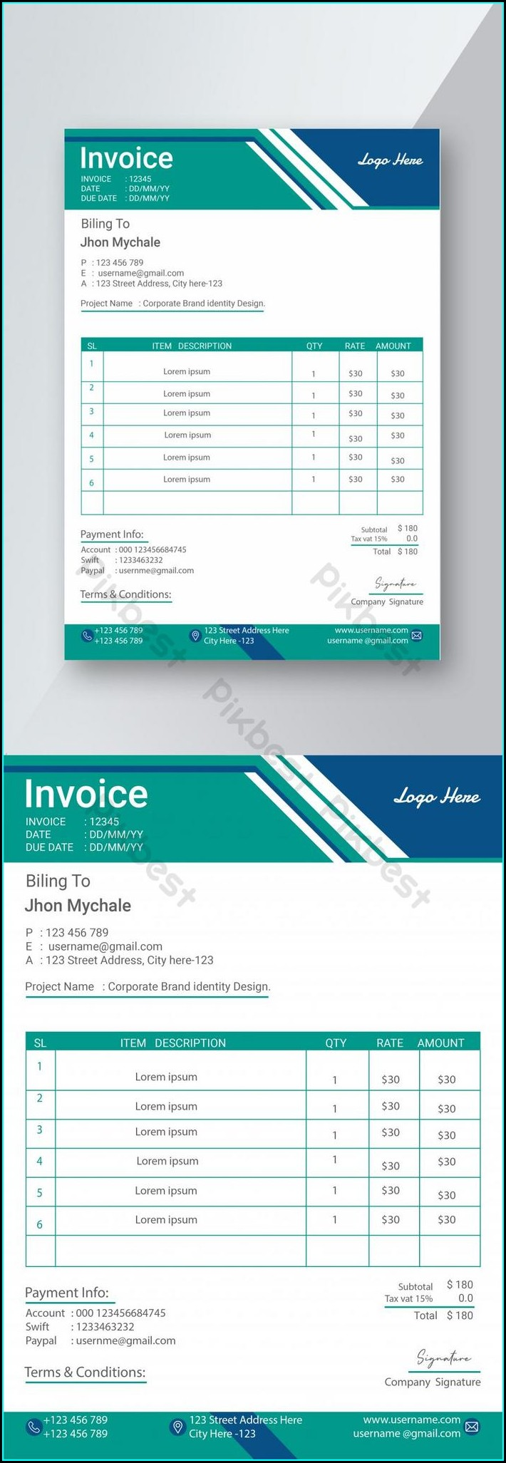 Editable Invoice Template Word Free Download