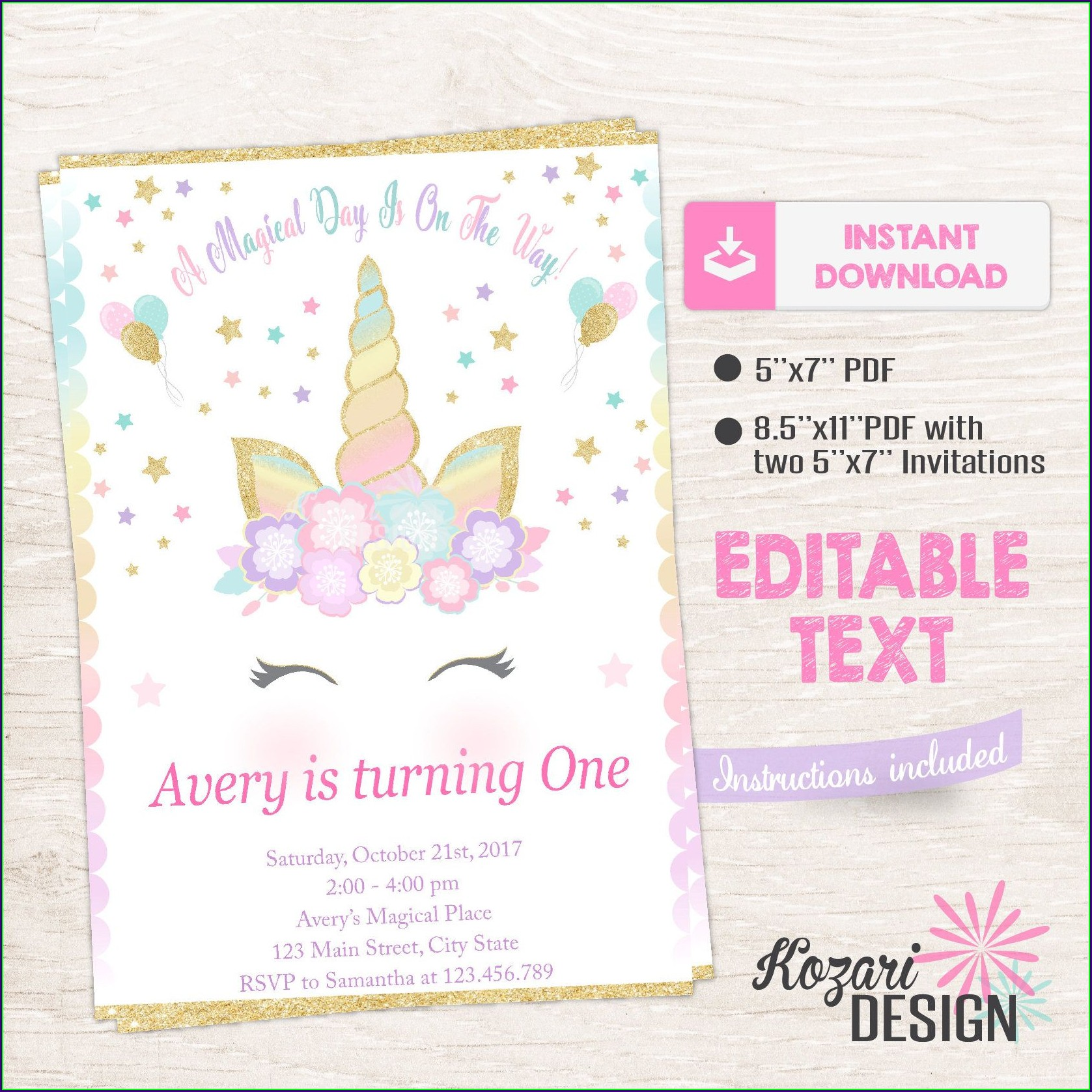 Editable Unicorn Invitation Template Free Download