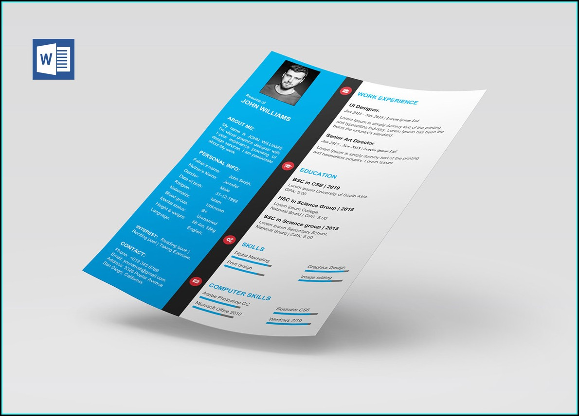 Editable Word Document Free Cv Template Word