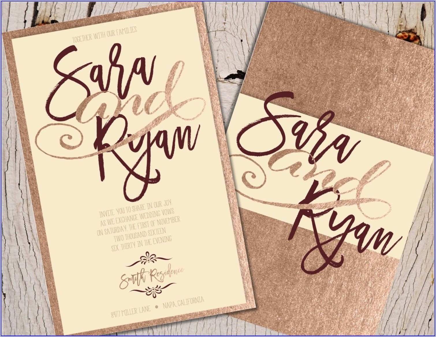 Elegant Burgundy And Rose Gold Wedding Invitations