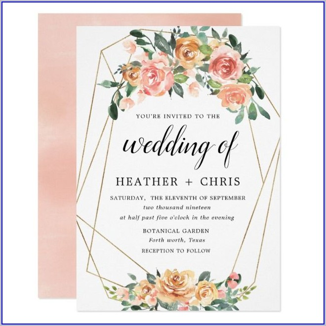 Elegant Peach And Gold Wedding Invitations