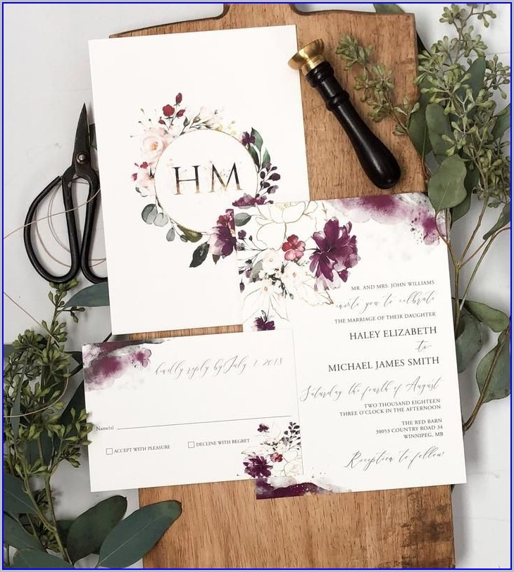 Elegant Purple And Gold Wedding Invitations