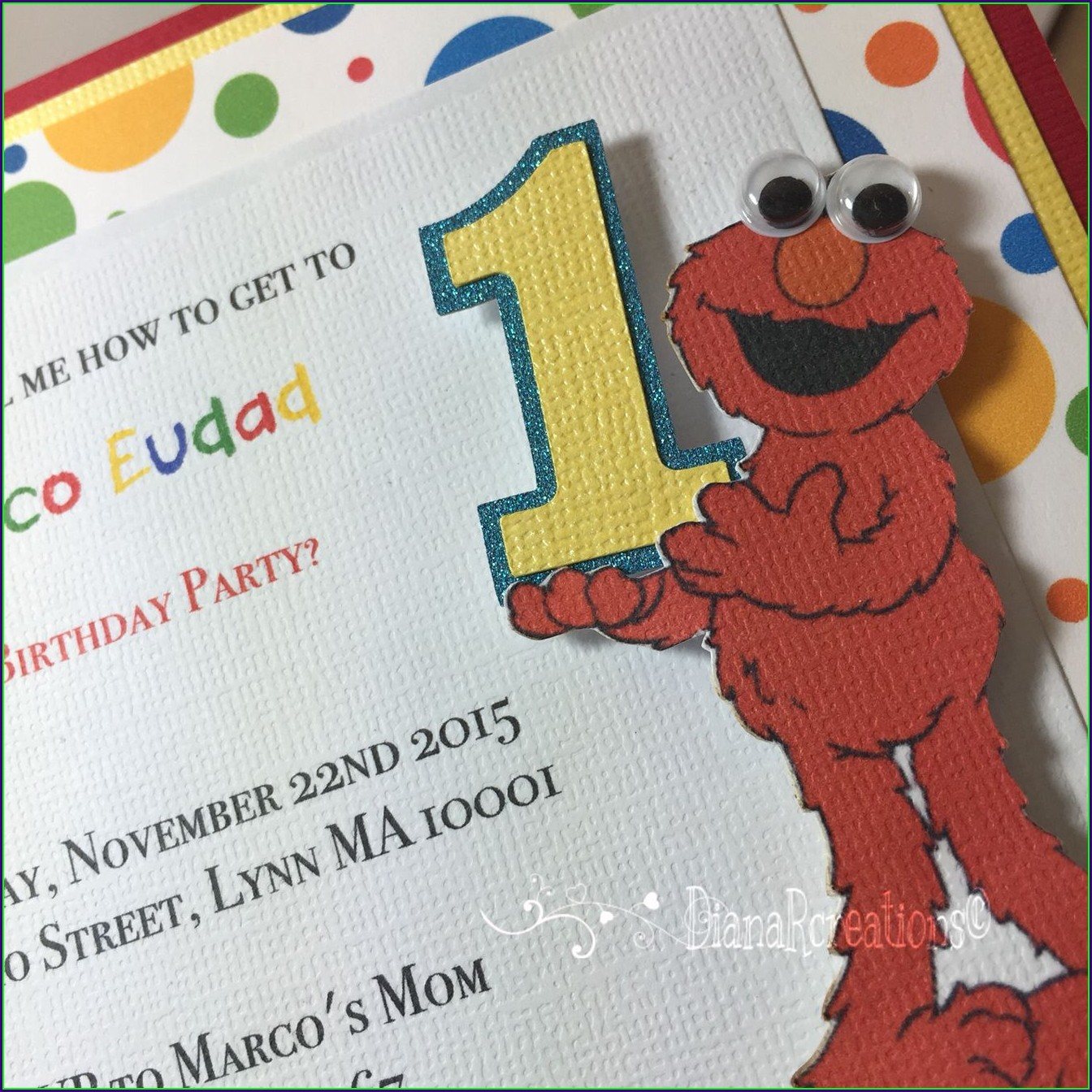 Elmo First Birthday Invitations