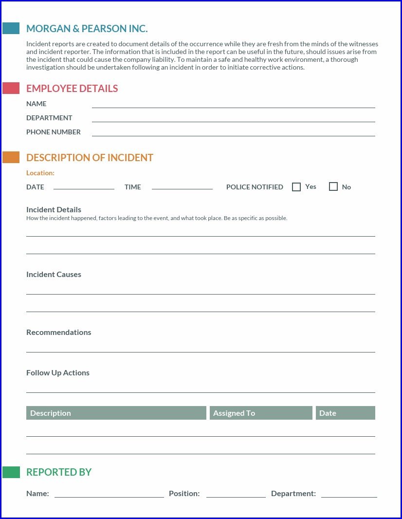 Employee Incident Accident Report Sample Form