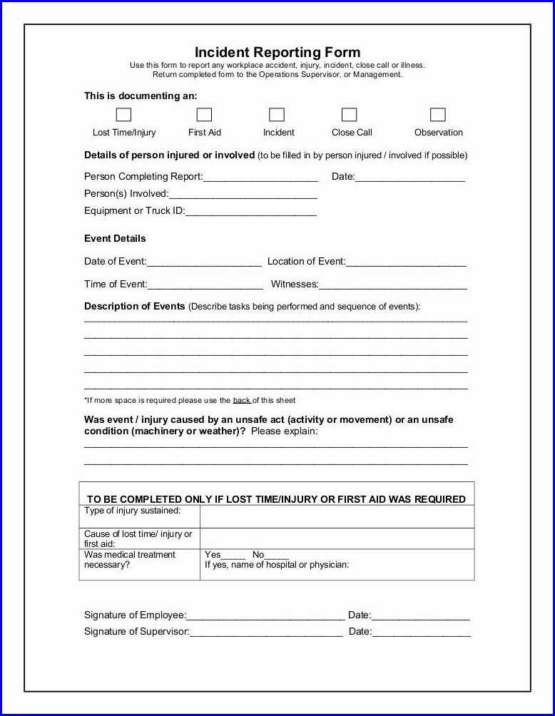 Employee Incident Report Template Word