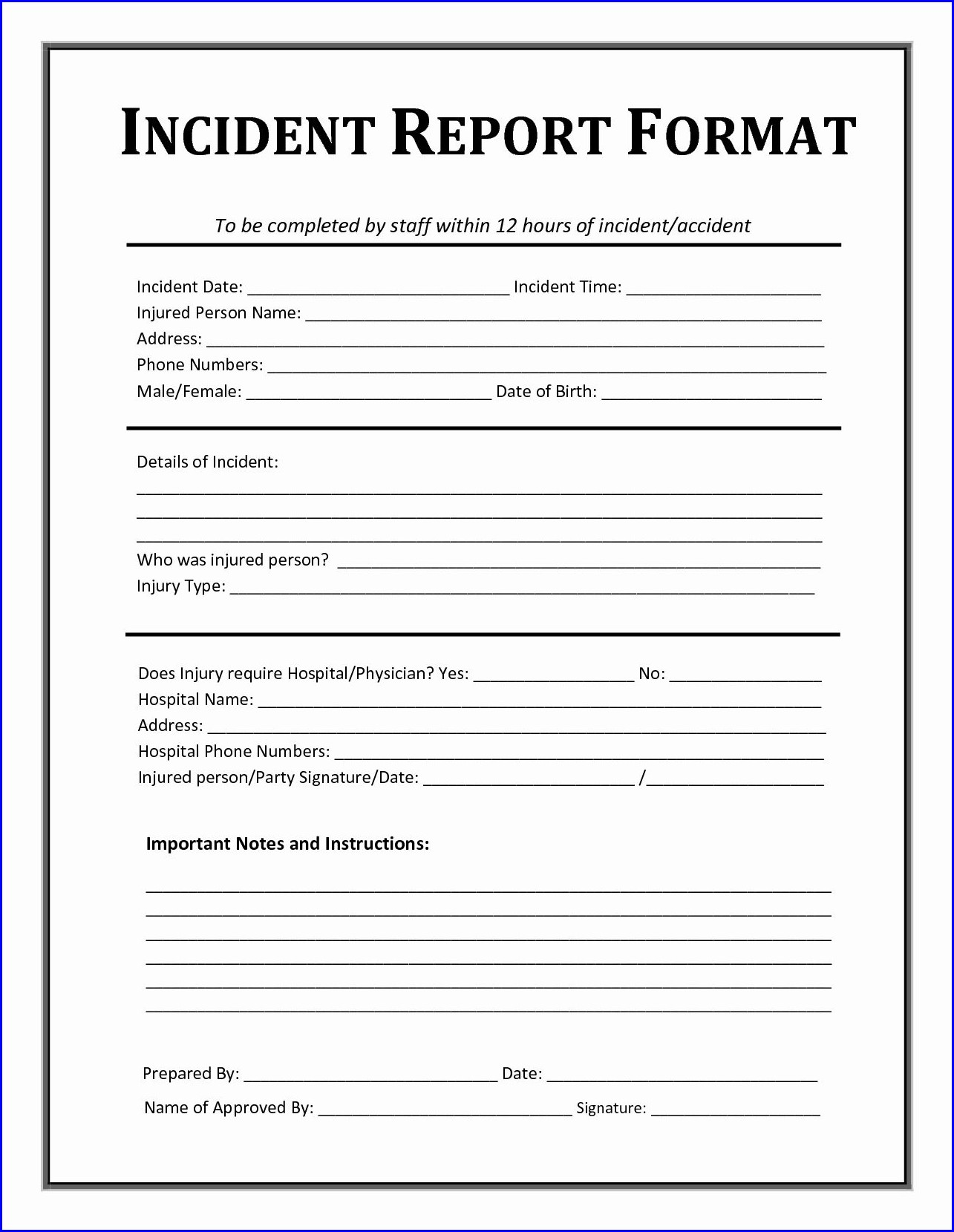 Employee Incident Workplace Incident Report Template Word