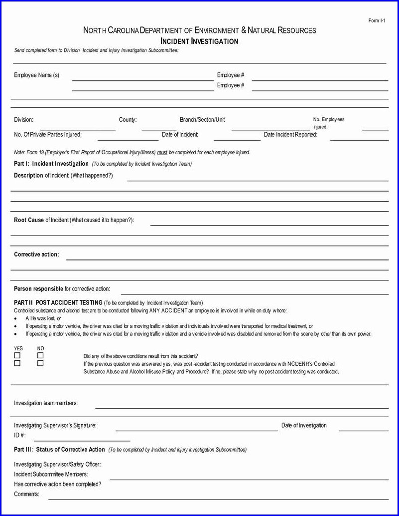 Employee Vehicle Accident Report Template