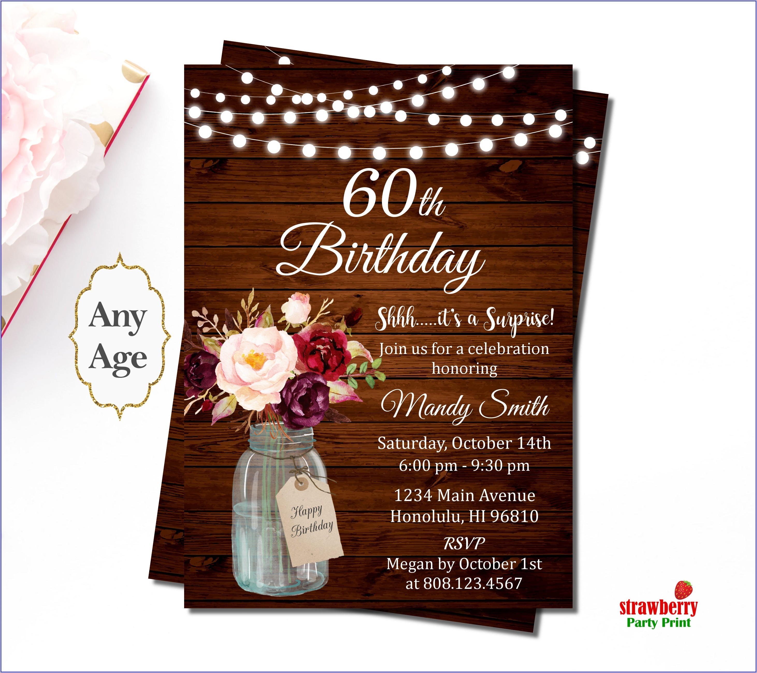 Female Surprise 60th Birthday Invitations