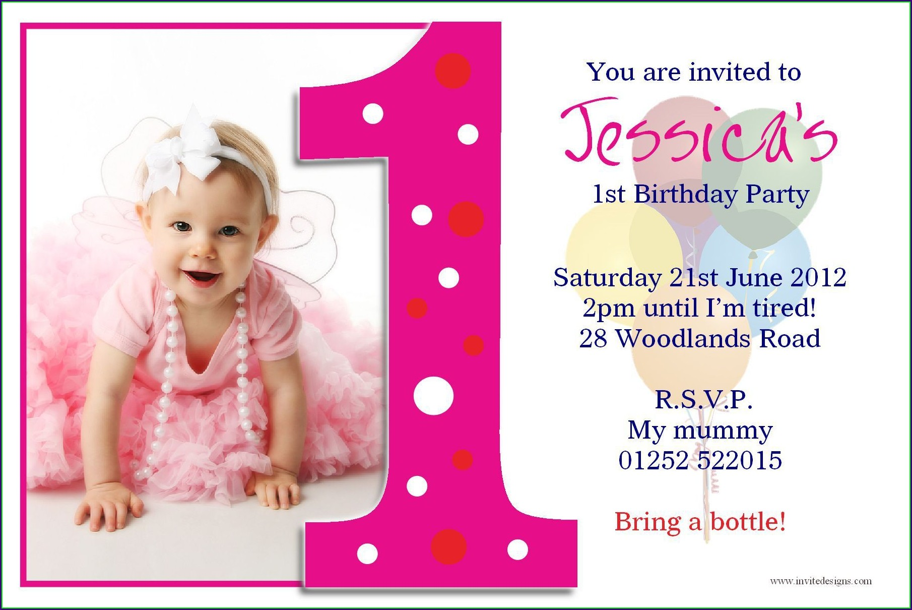 First Birthday Invitations Girl India