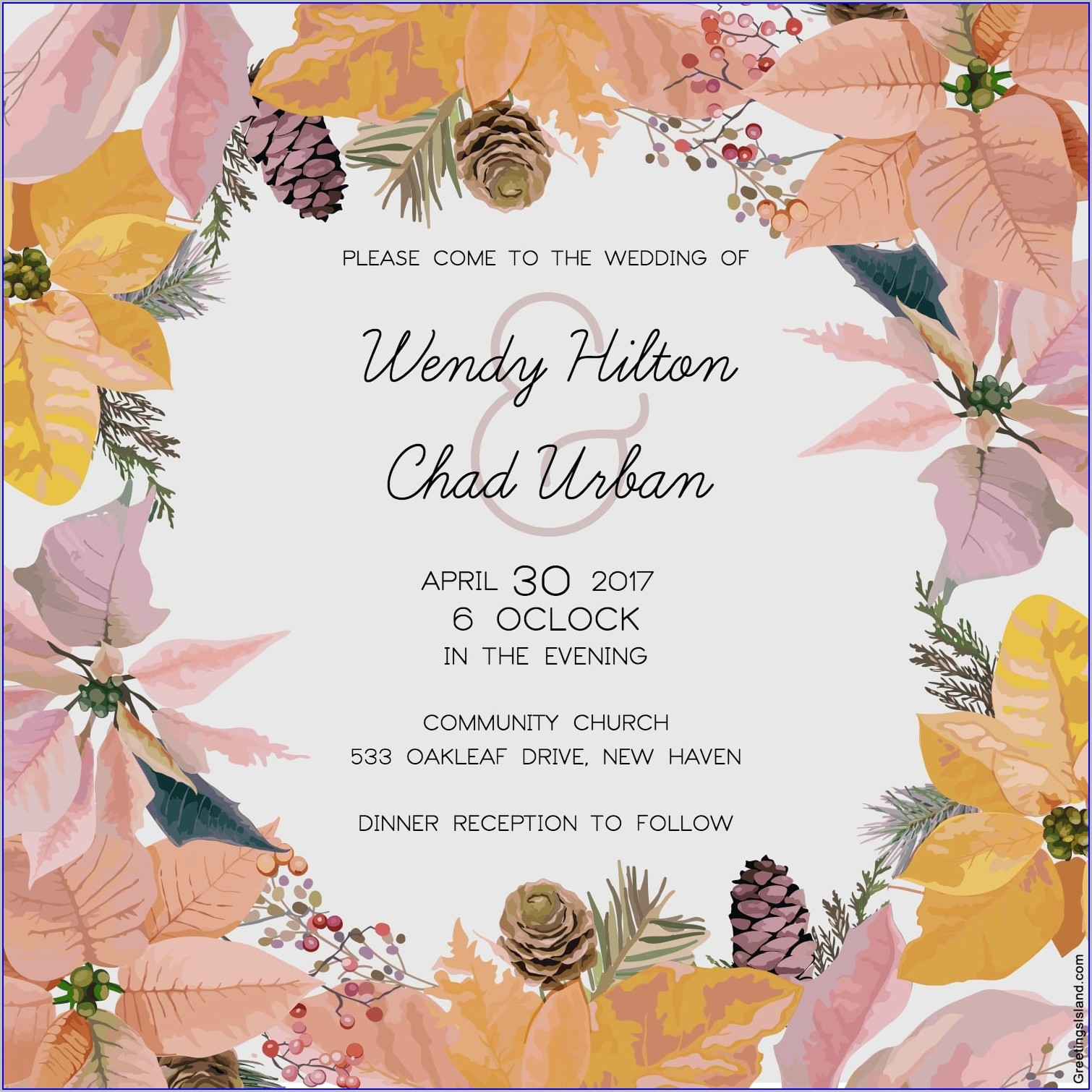 Floral Blank Wedding Invitation Templates Free Download