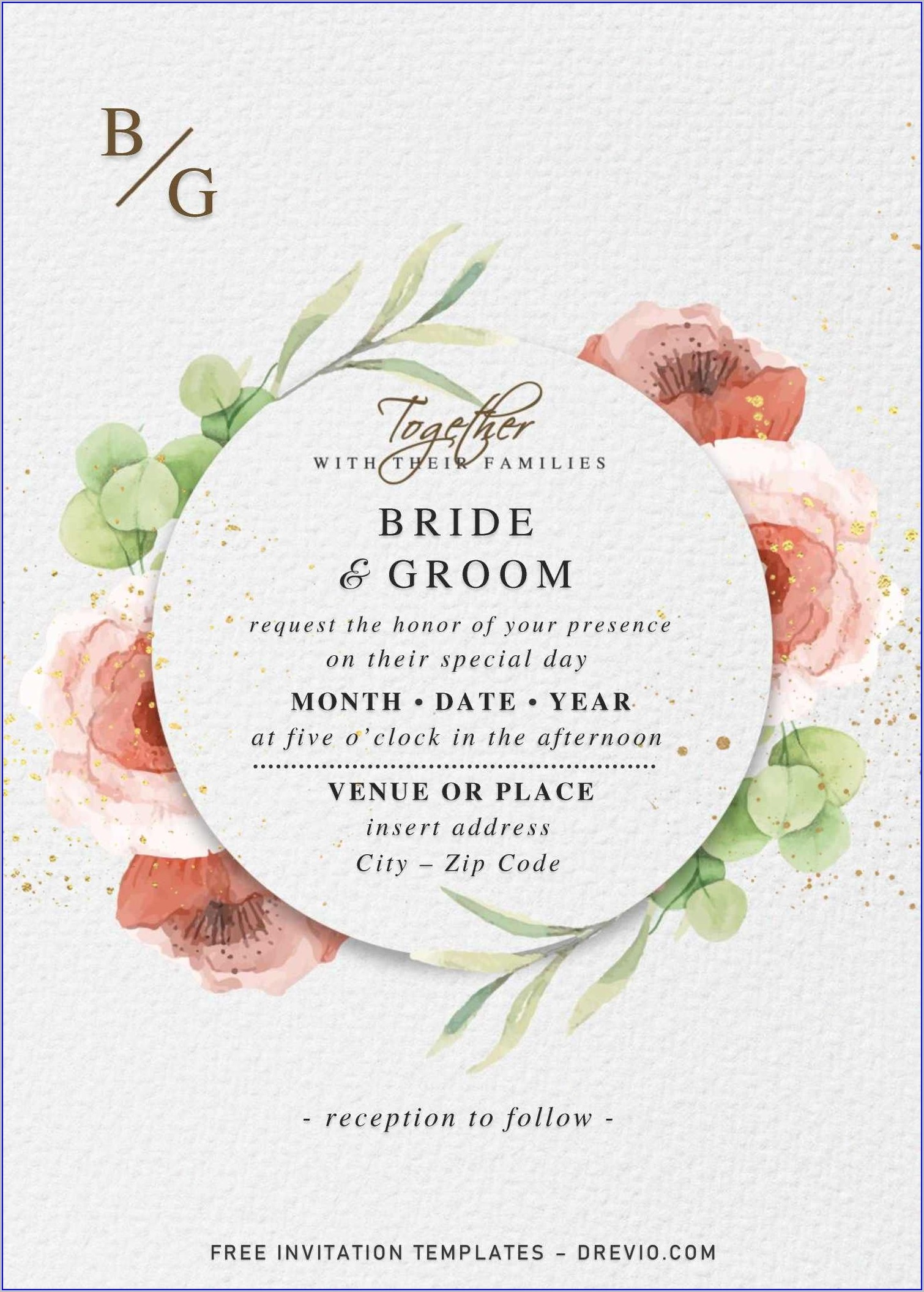 Floral Wedding Invitation Templates (free)