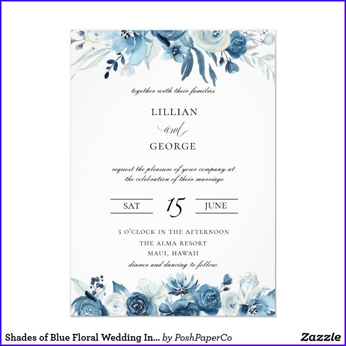 Floral Wedding Invitations Blue