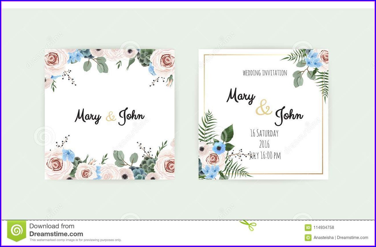 Floral Wedding Invitations Vector