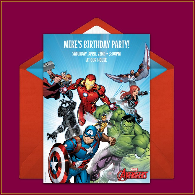 Free Avengers Birthday Invitations