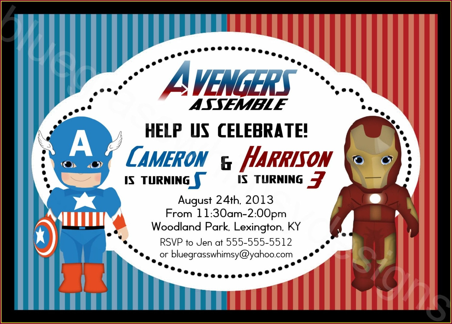 Free Avengers Birthday Party Invitations