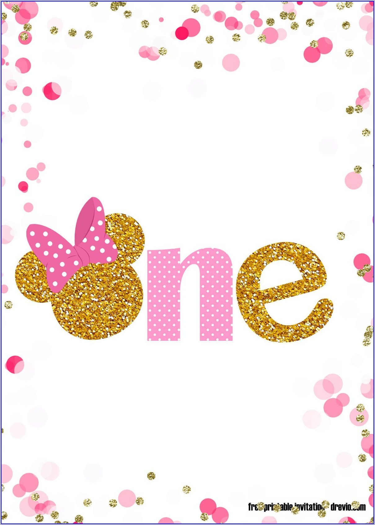 Free Customizable Minnie Mouse Birthday Invitations Pink And Gold