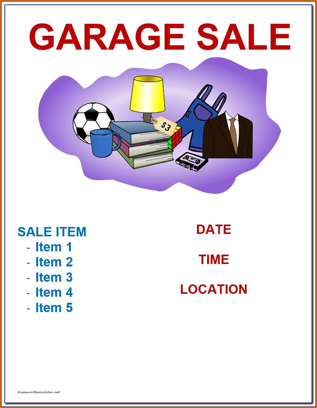 Free Garage Sale Flyer Template Microsoft Word
