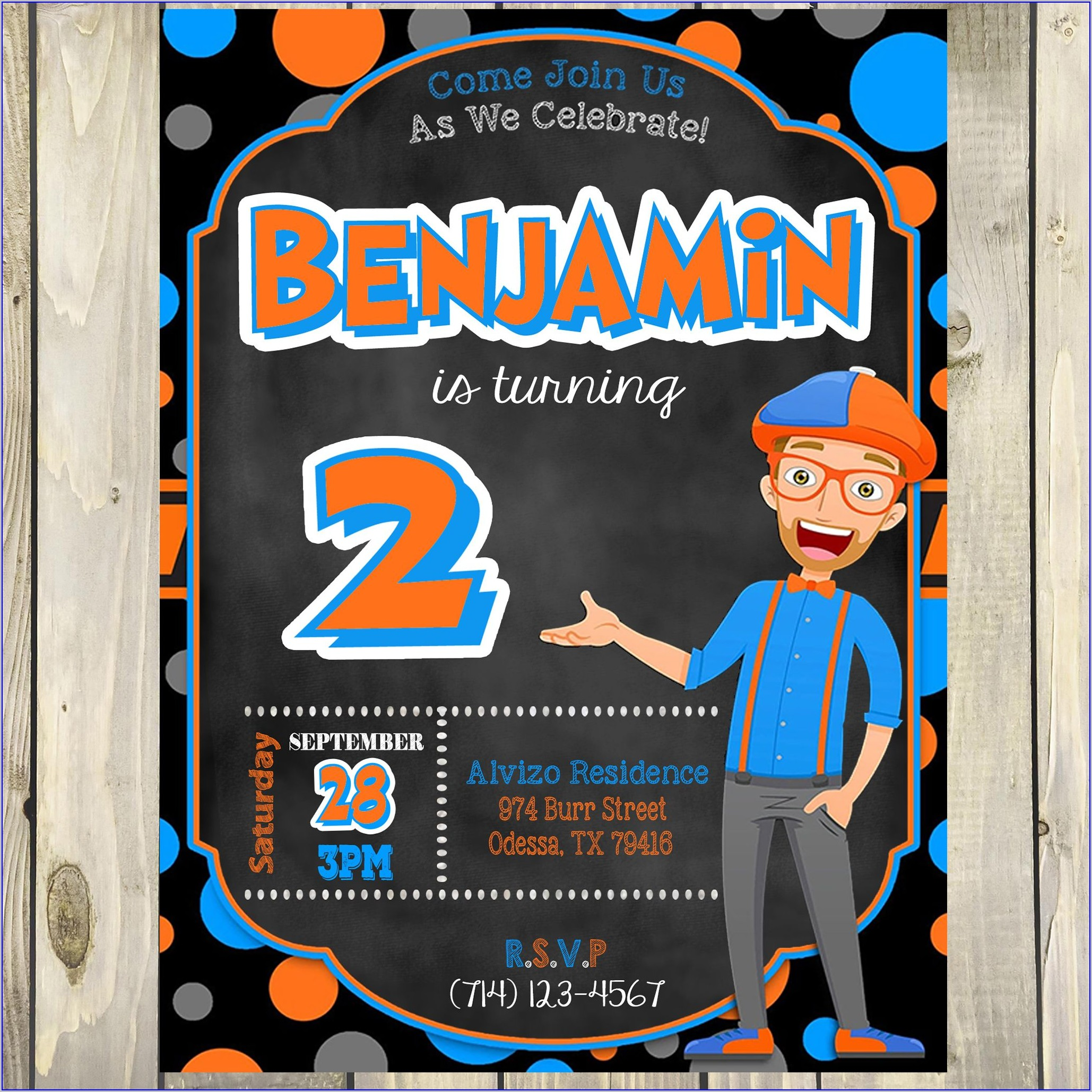 Free Printable Blippi Birthday Invitations