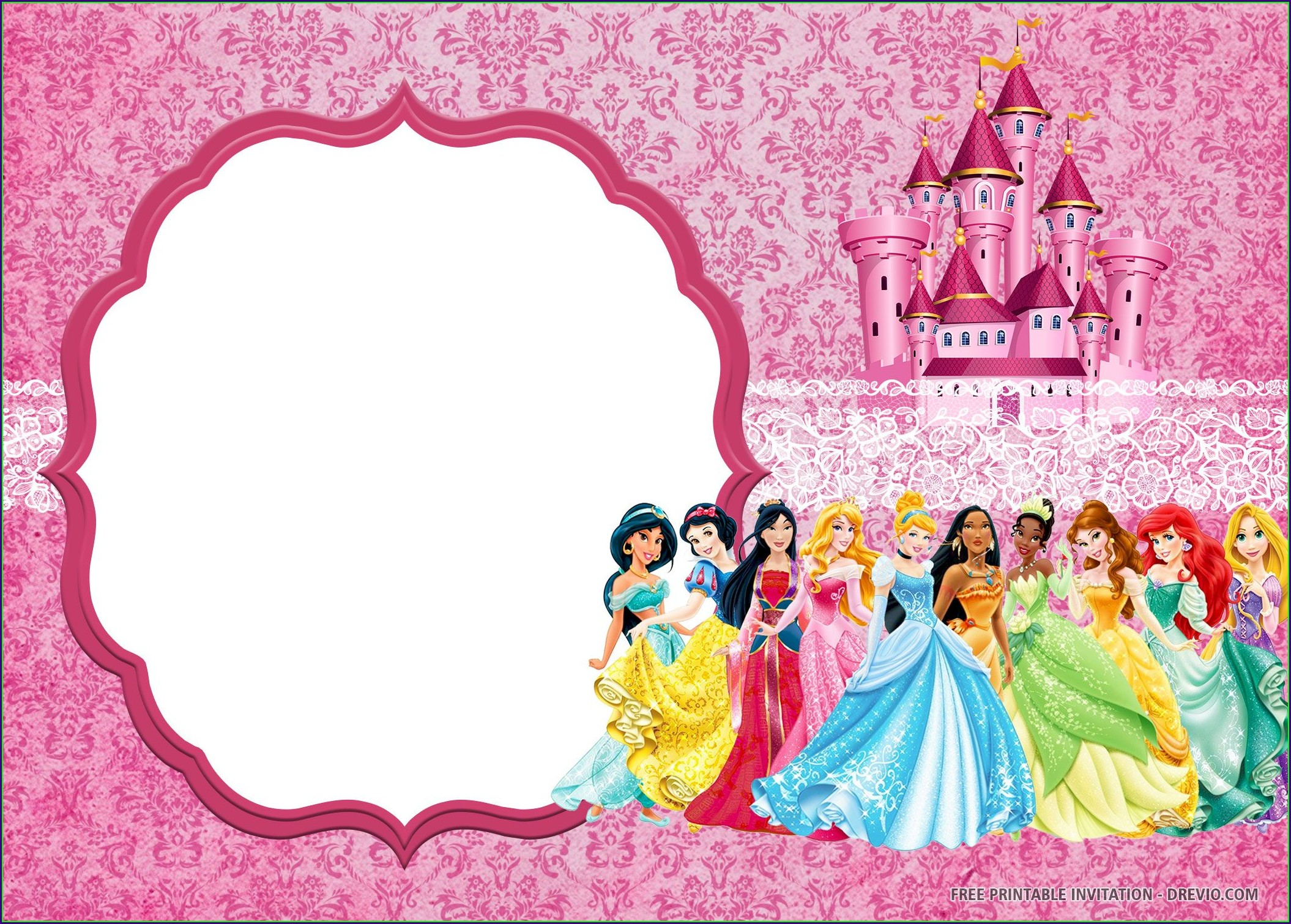 Free Printable Disney Princess Invitations