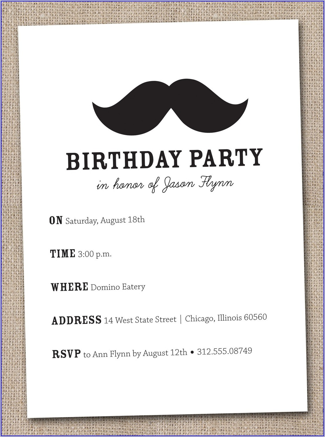 Free Printable Mustache Birthday Invitations