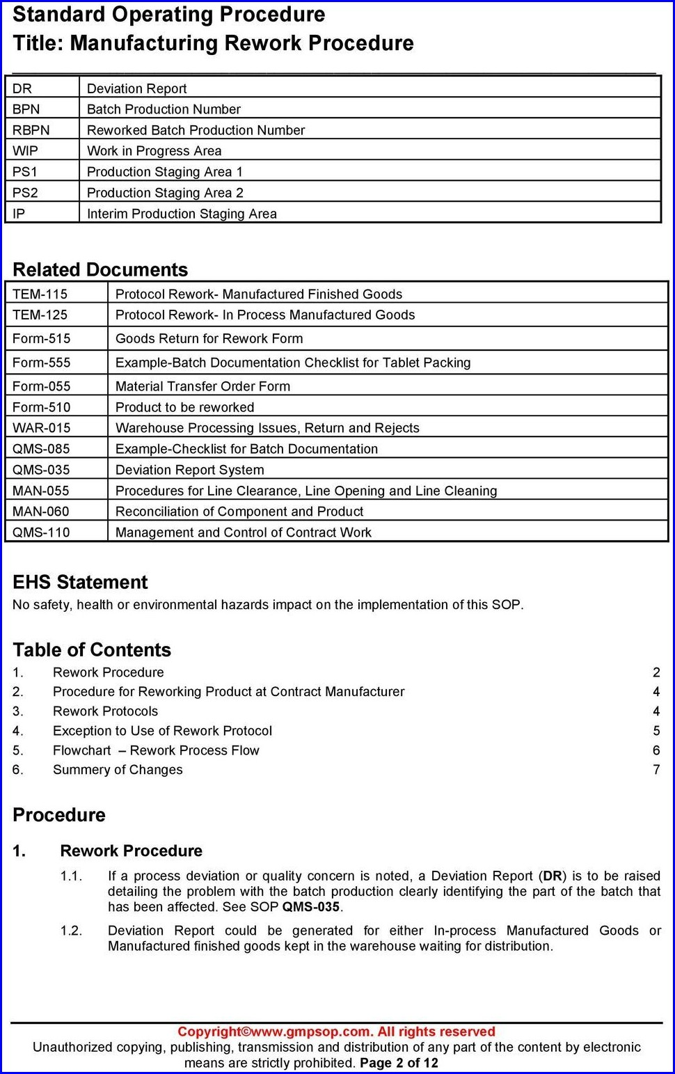 Free Work Instruction Template For Manufacturing