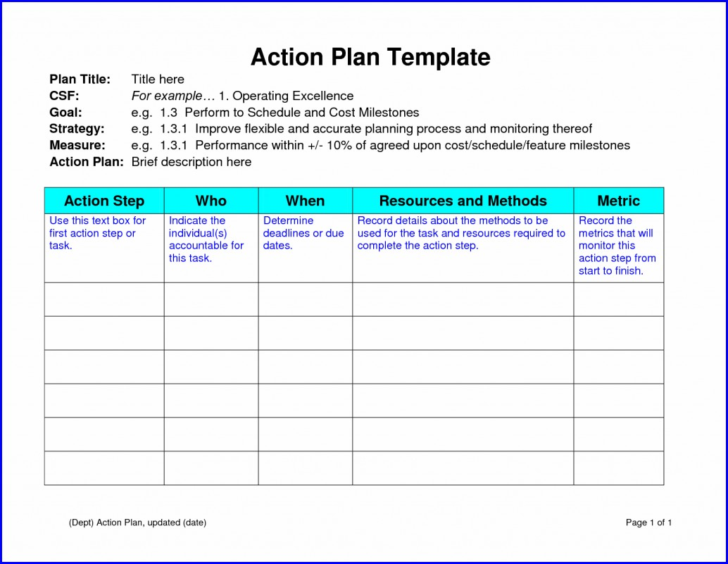 Free Work Plan Template Word