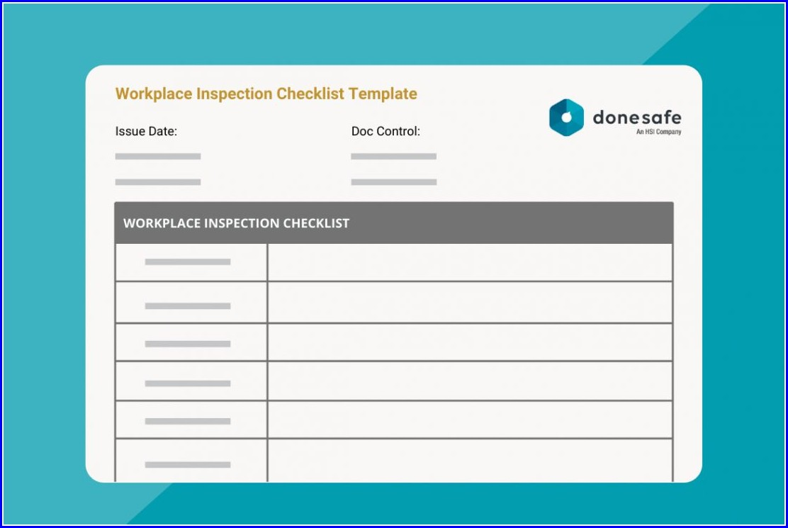 Free Workplace Safety Inspection Checklist Template