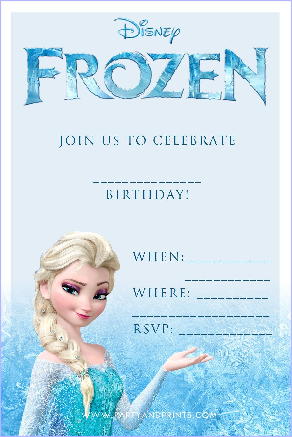 Frozen Birthday Invitations Online Free