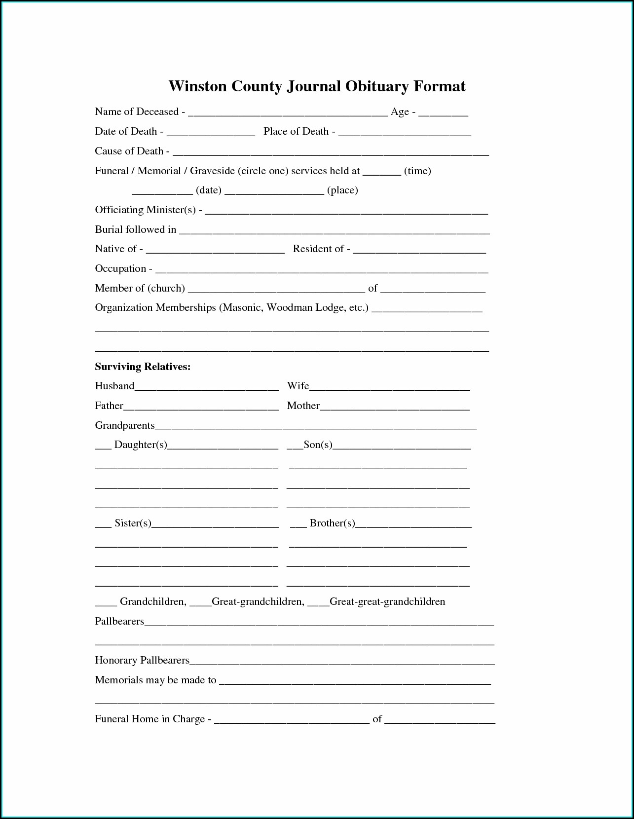 Funeral Program Free Obituary Template Word