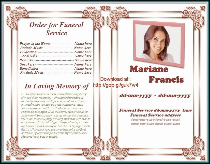 Funeral Service Free Program Template Microsoft Word