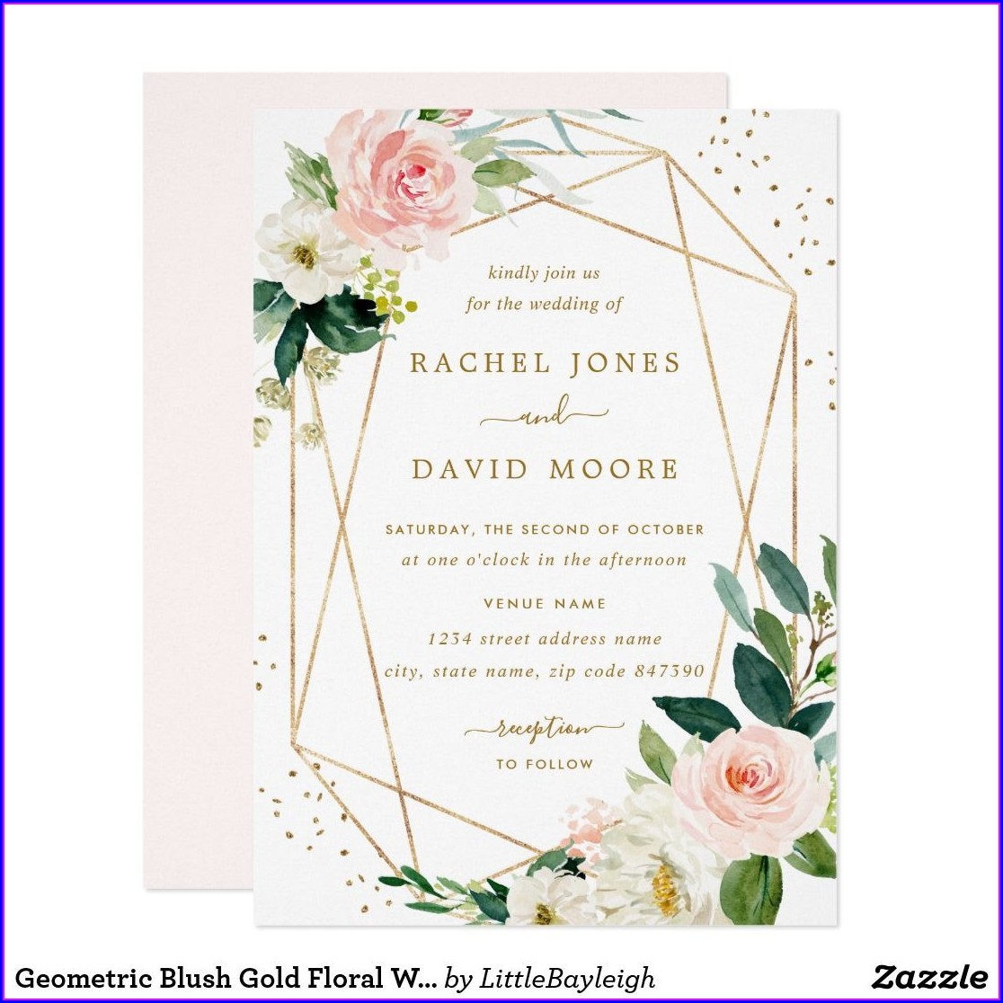 Geometric Floral Wedding Invitations