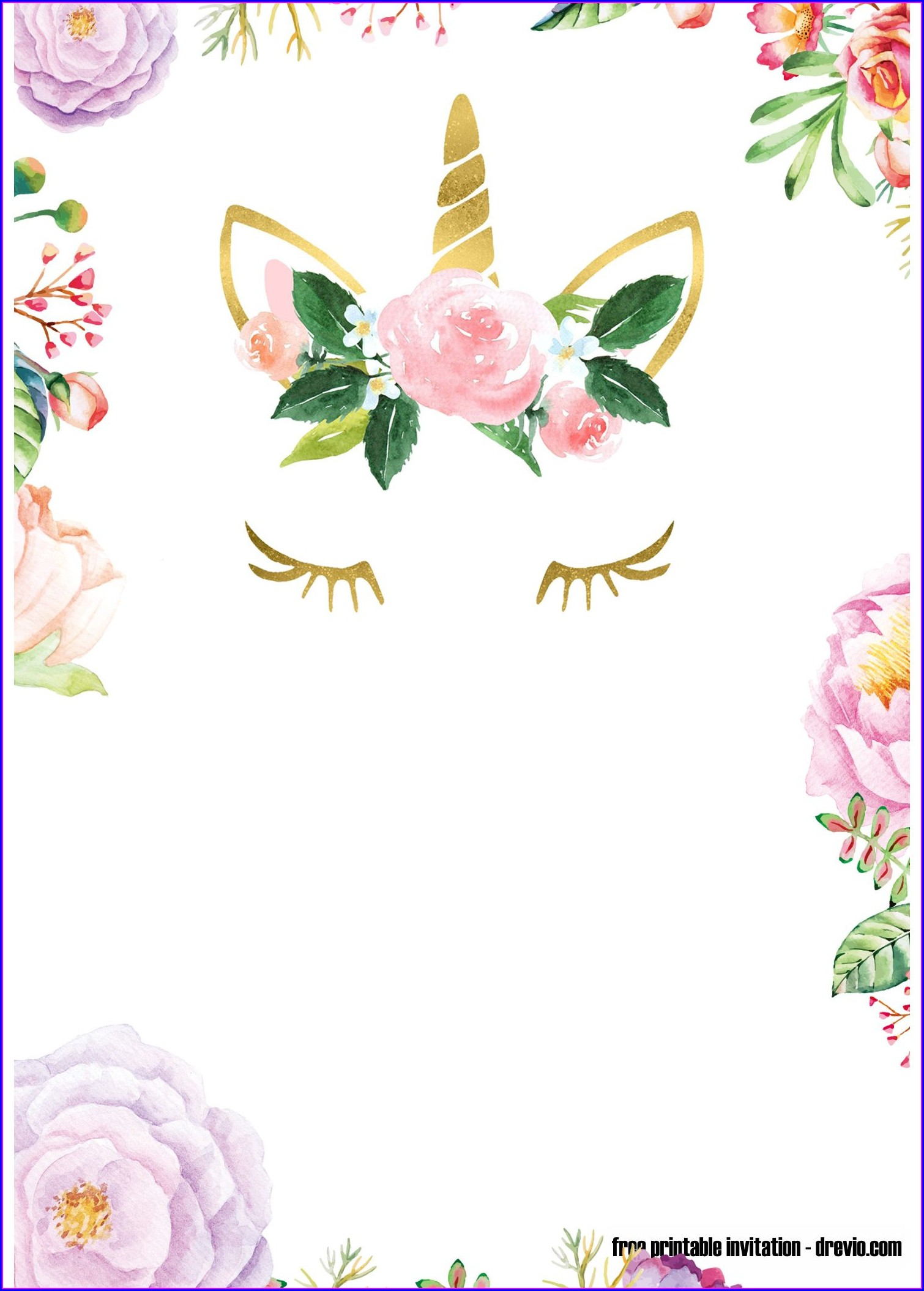 Girl Printable Editable Unicorn Birthday Invitations Templates Free