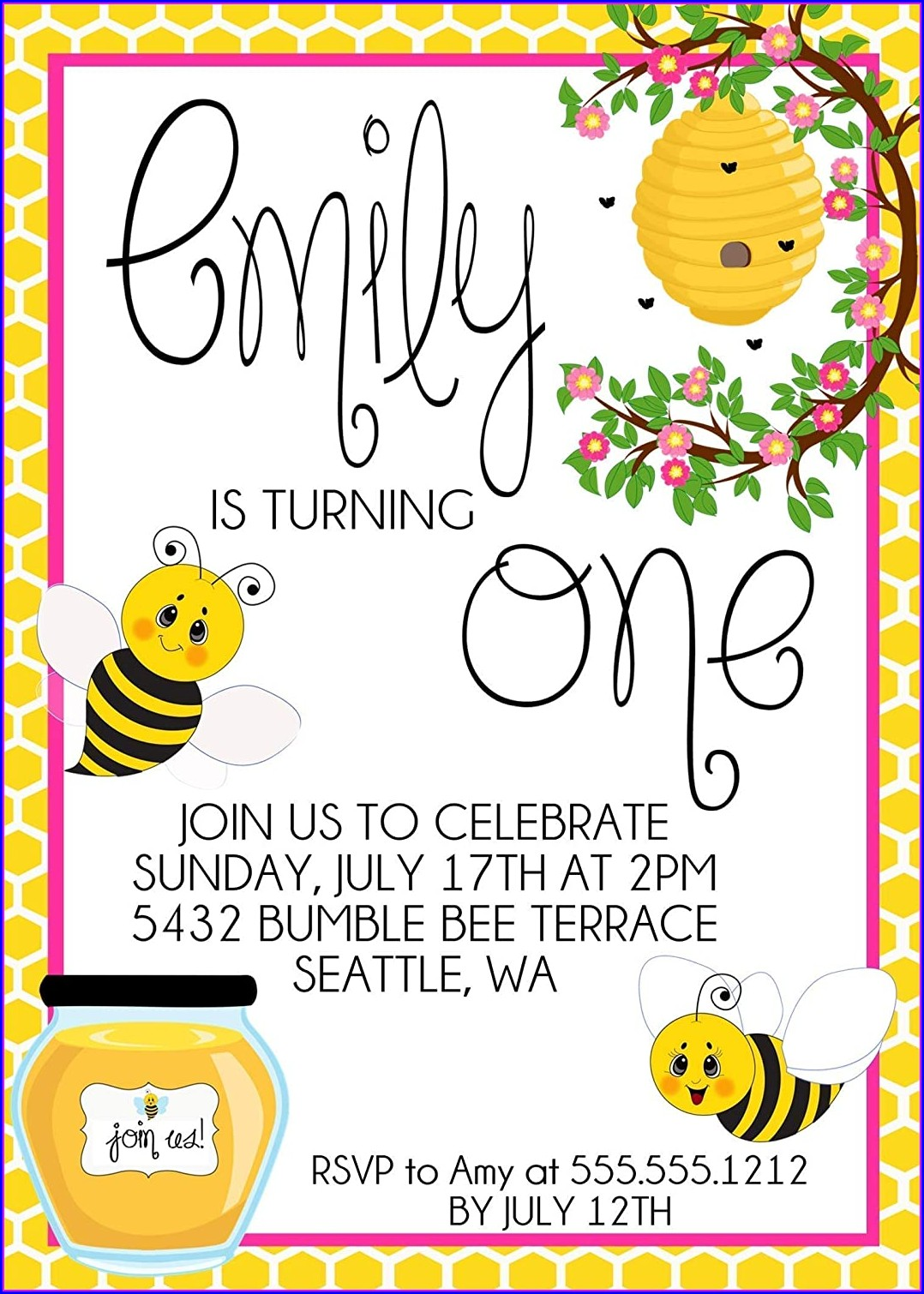 Girls 1st Birthday Invitations