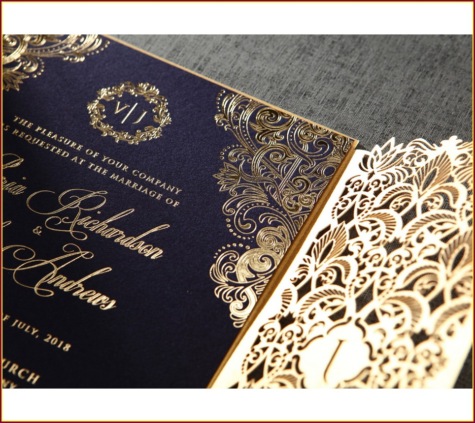 Gold Royal Blue Wedding Invitations
