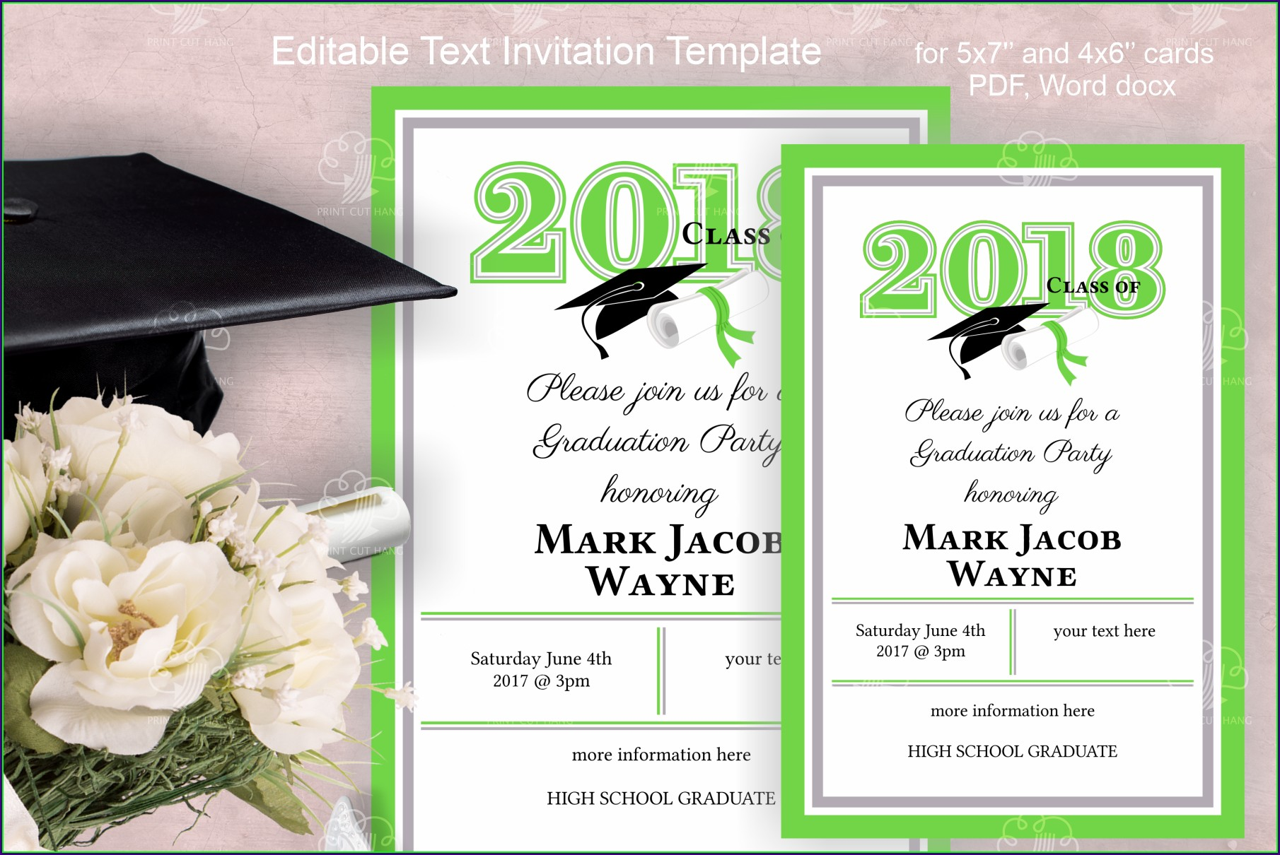 Graduation Invitation Card Template