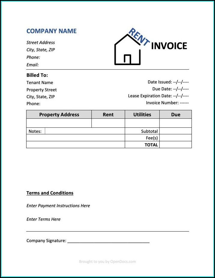 House Rent Receipt Template Word Document