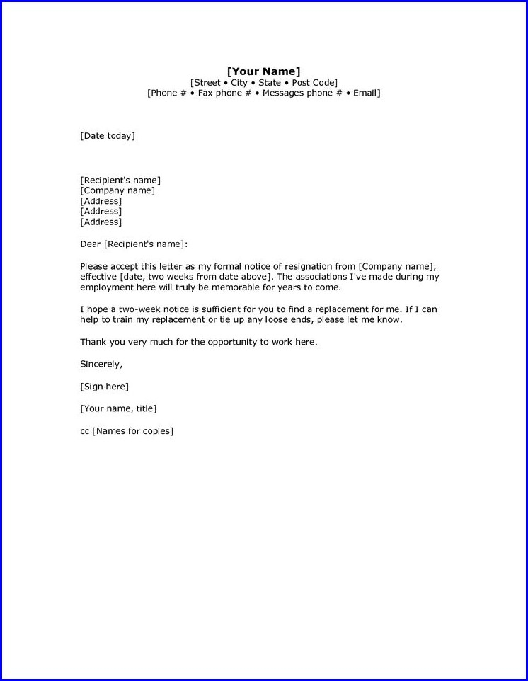 How To Write Resignation Letter Sample