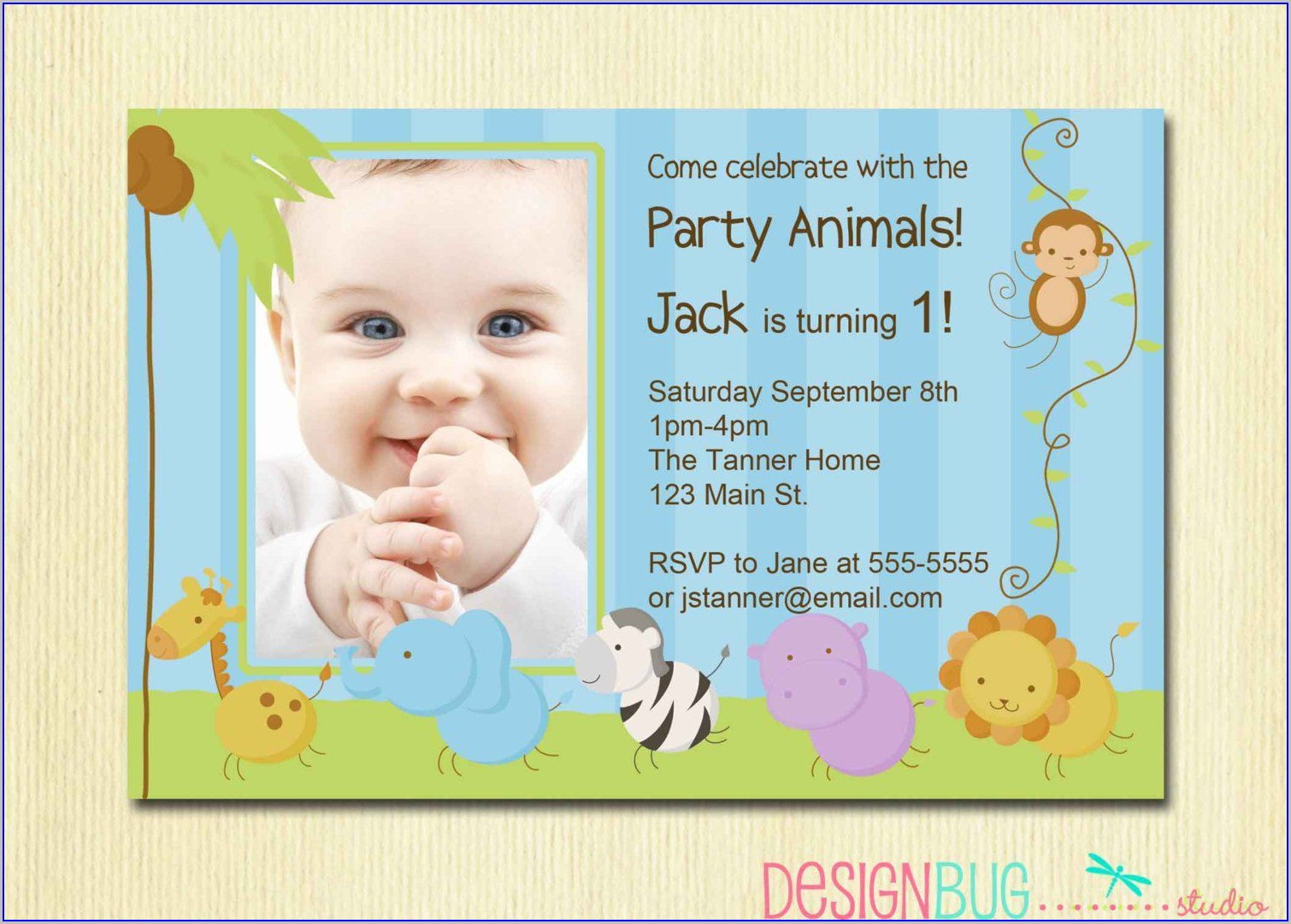 Invitation Card For 1st Birthday Boy And Christening