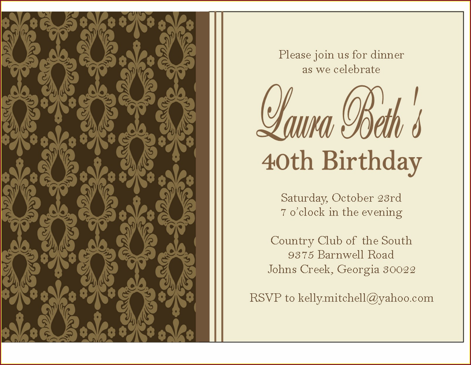 Invitation Template Birthday Dinner Invitation Message