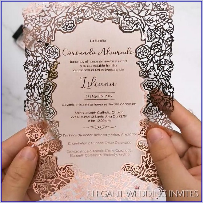Laser Cut Rose Gold Wedding Invitations
