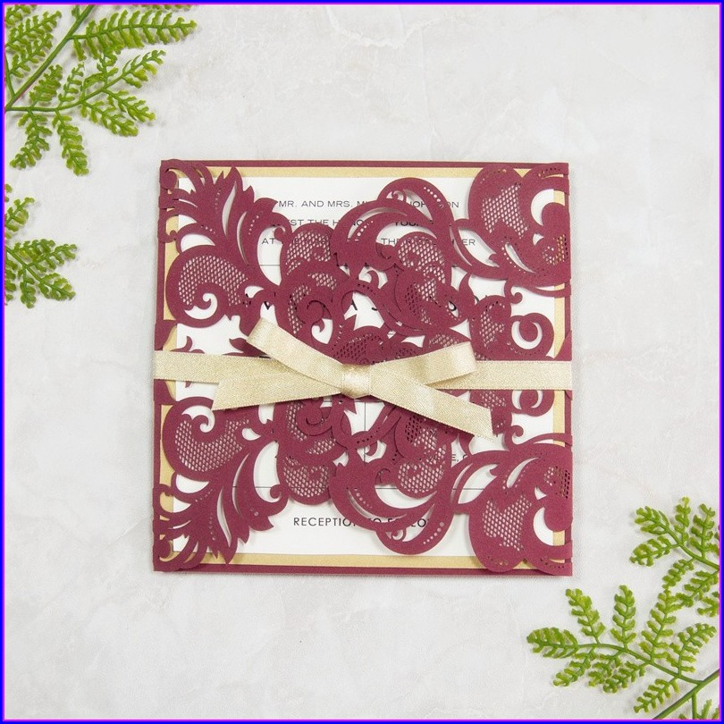 Laser Cut Wedding Invitations Burgundy