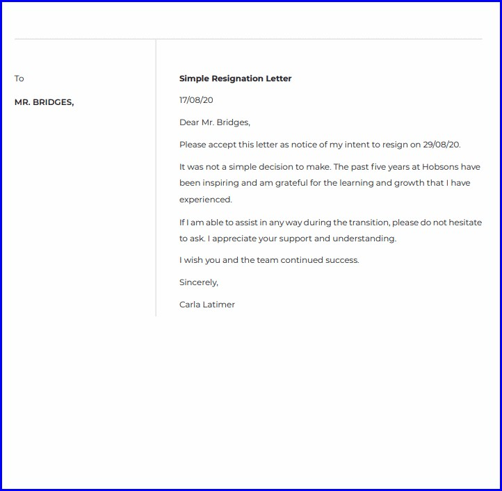 Letter Template How To Write Resignation Letter To Company