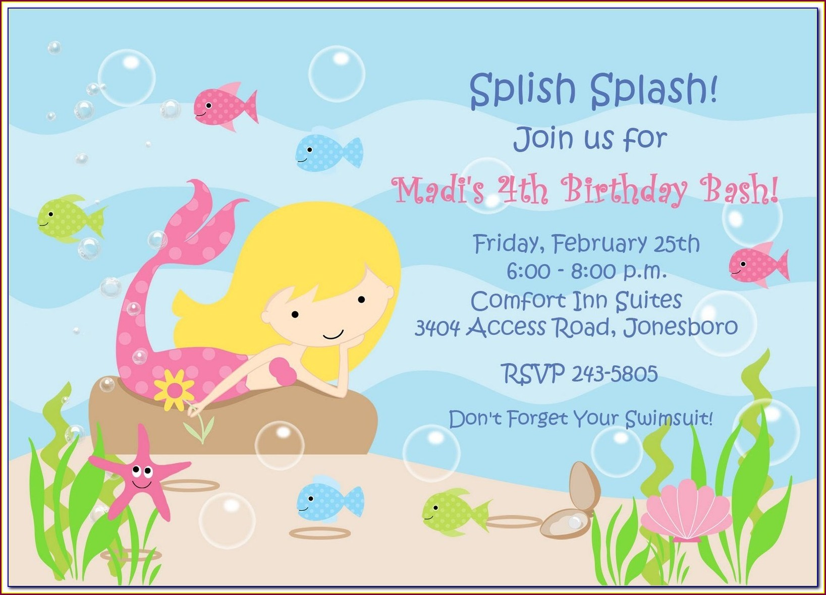 Little Mermaid Birthday Invitation Template