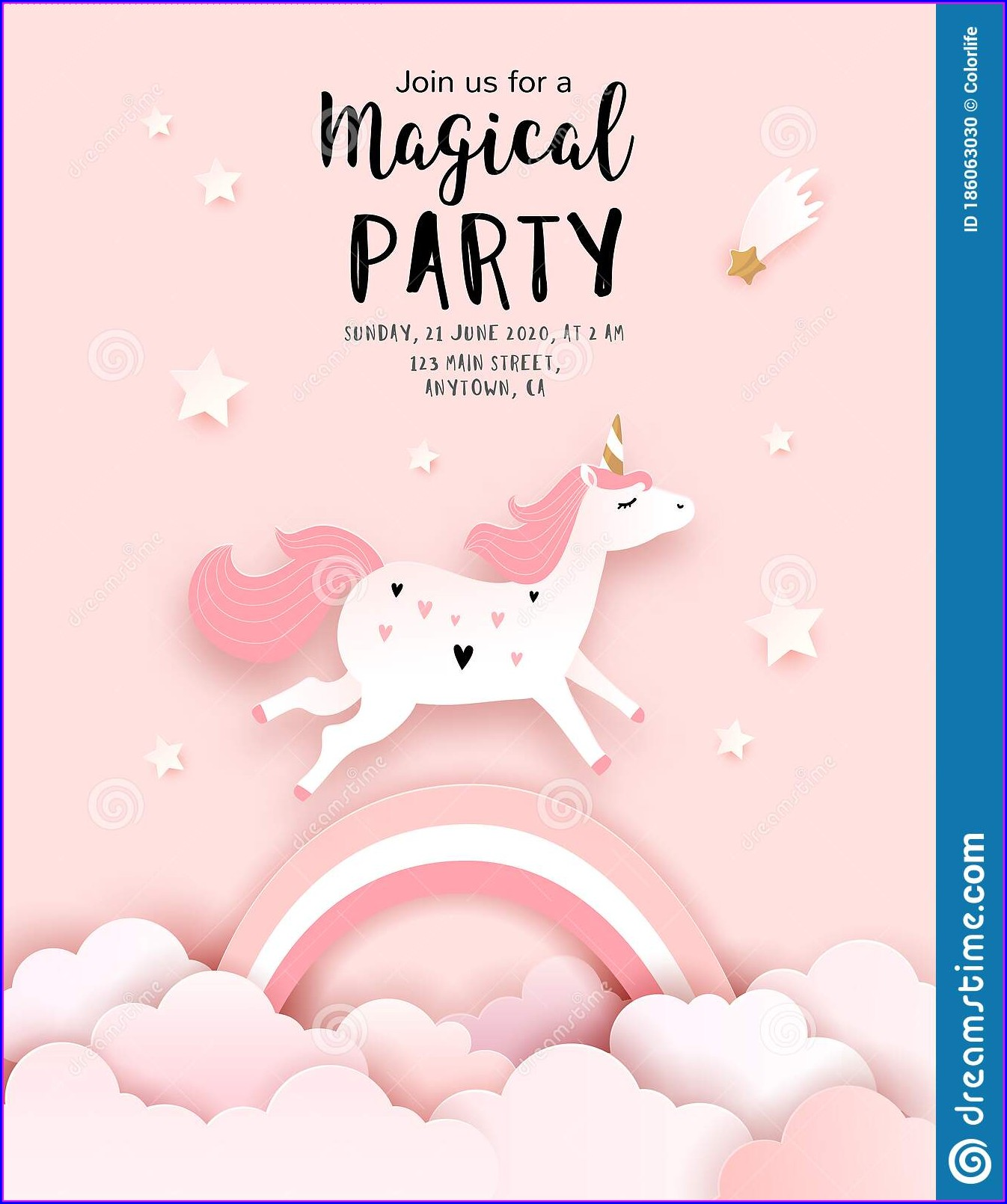 Magical Unicorn Editable Unicorn Birthday Invitations Templates Free