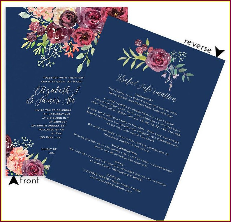 Maroon And Navy Blue Wedding Invitations