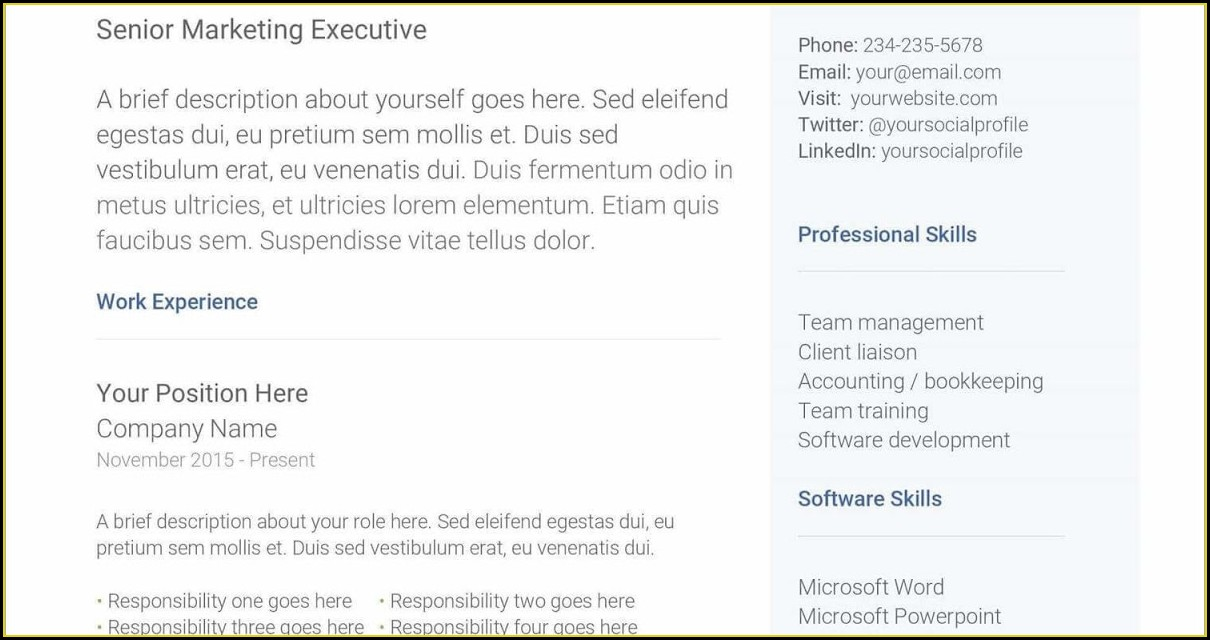 Microsoft Word Downloadable Editable Free Resume Templates