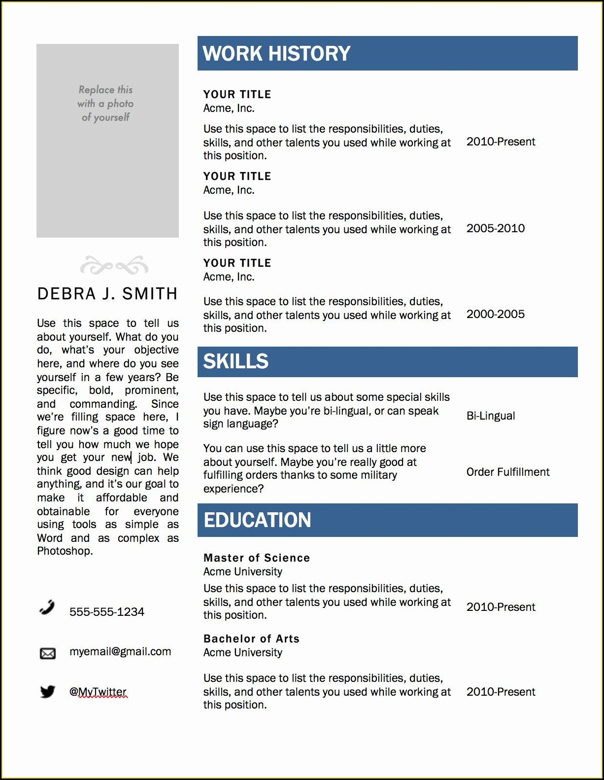 Microsoft Word Downloadable Microsoft Word Free Resume Templates