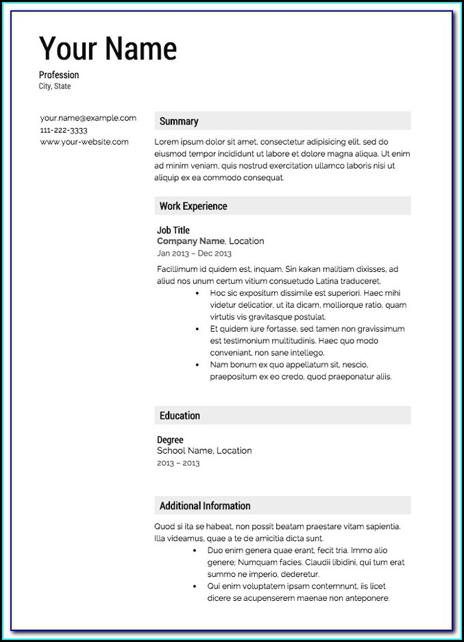 Microsoft Word For Mac Resume Templates